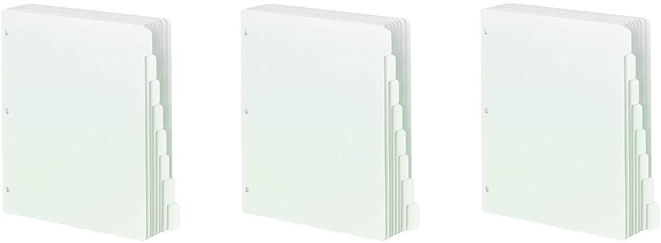 Smead Three-Ring Binder Index Dividers, 1/5-Cut Tabs, Letter Size, White, 100 Dividers (89415) (Pack of 3)
