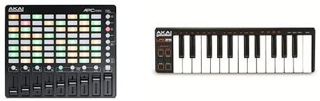 Akai Professional APC Mini Kompakter Ableton Live MIDI Controller + Akai Professional LPK25 Laptop Performance USB MIDI Keyboard Controller Bundle