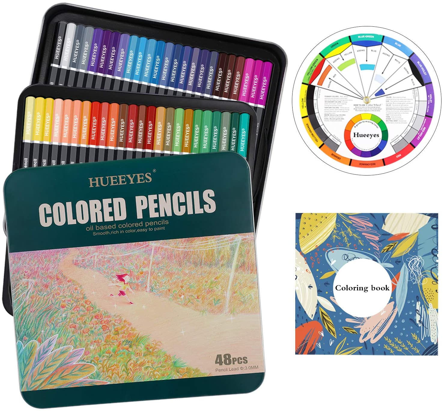 48 Oil Based colored pencils for adults with Color Wheel, HUEEYES - Ideal for Coloring and Drawing, Vibrant Color Professional Art School Supplies for Kids, Holiday Gifts for beginner Drawing