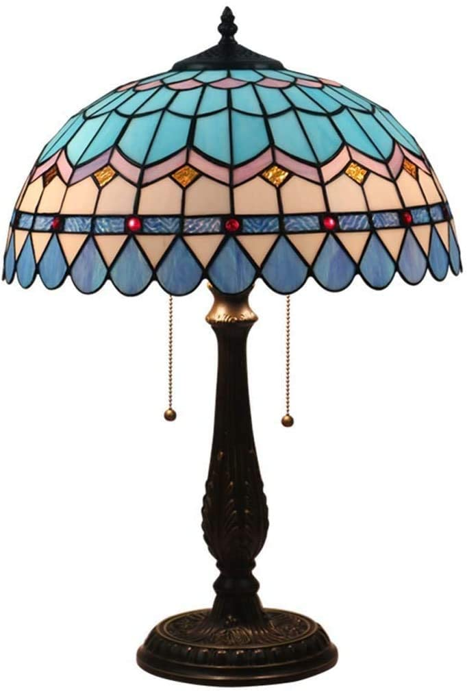 DIMPLEYA 16 Inch Tiffany Style Table Lamp Led Stained Glass Shade Reading Desk Lamps,e27-2 Lights,Living Room Bedroom Bar Cafe Decoration Bedside Lamps,max60w
