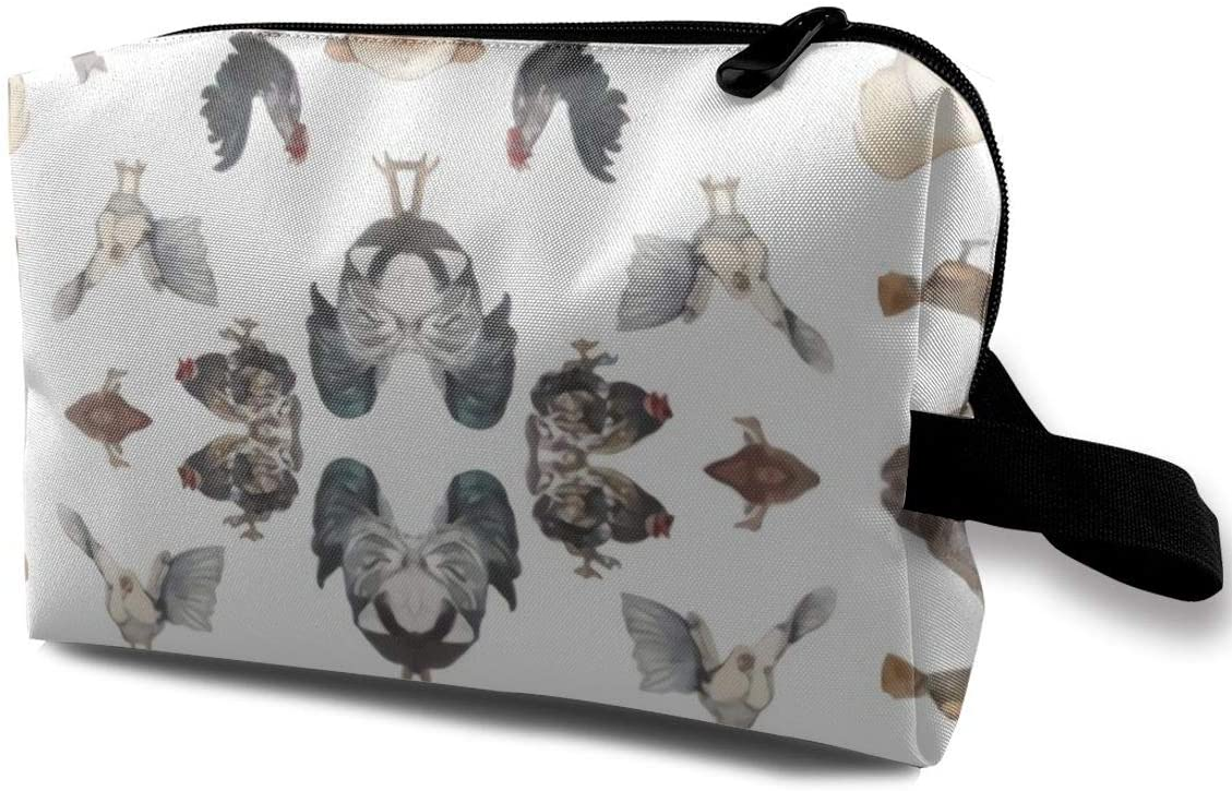 Antvinoler Chicken Happy Men & Women Large-Capacity Cosmetic Travel Storage Bag, Portable Cosmetic Bag Accessory Storage Bag