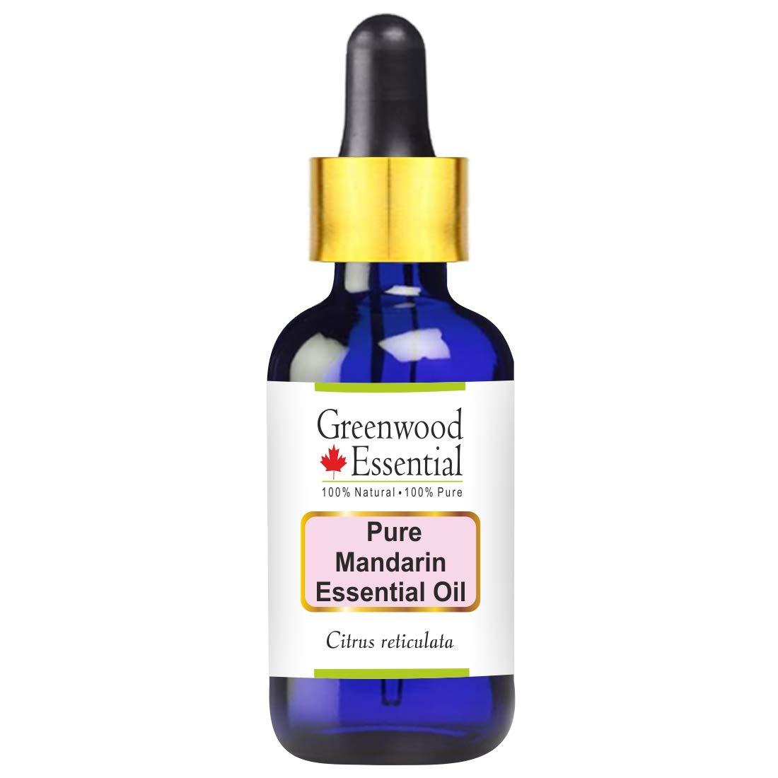 Greenwood Essential Pure Mandarin Essential Oil (Citrus reticulata) with Glass Dropper Premium Therapeutic Grade for Hair, Skin & Aromatherapy 50ml (1.69 oz)