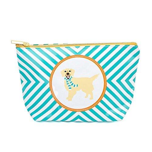 Twos Company Dog Image Cosmetic Bag (Blue-Golden Retriever)