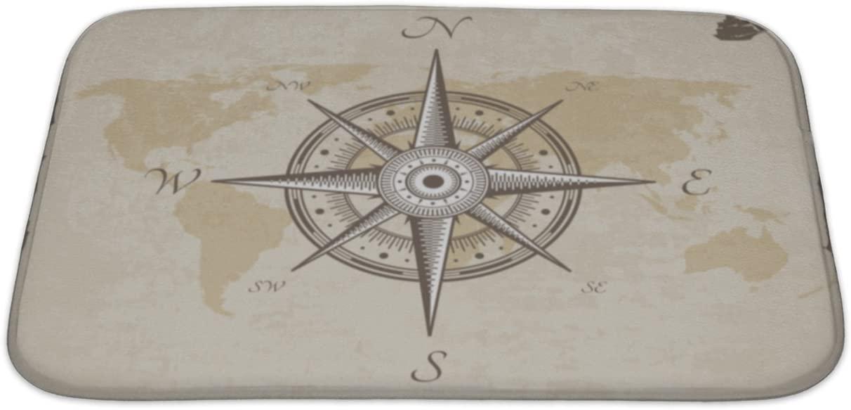 Gear New Bath Rug Mat No Slip Microfiber Memory Foam, Silver Vintage Nautical Compass Old Map Paper Torn Border Frame Wind, 34x21