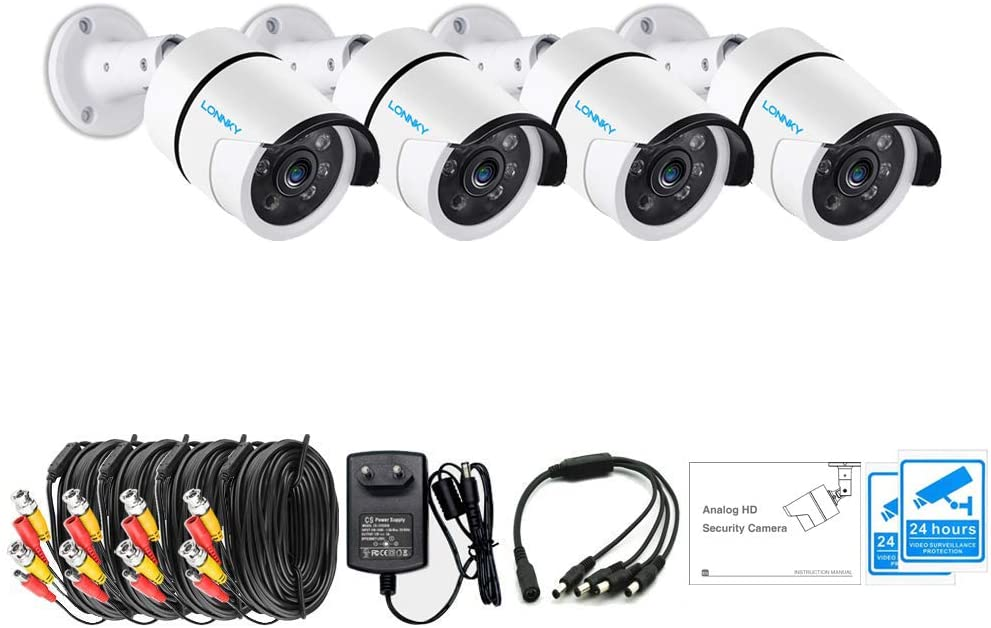LONNKY 4Pack 1080P TVI Analog Outdoor Bullet Waterproof Security Camera System(Including Power Supply, Splitter Cable and Extension Cable),3.6mm Lens 100ft Night Vision HD CCTV Camera for DVR Recorder
