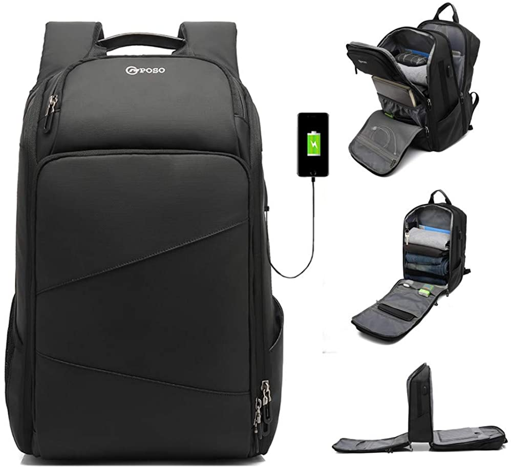 Men's Travel Business TSA Laptop Backpack 17.3 inch Computer backpack with USB Charging Water-Resistant Rucksack