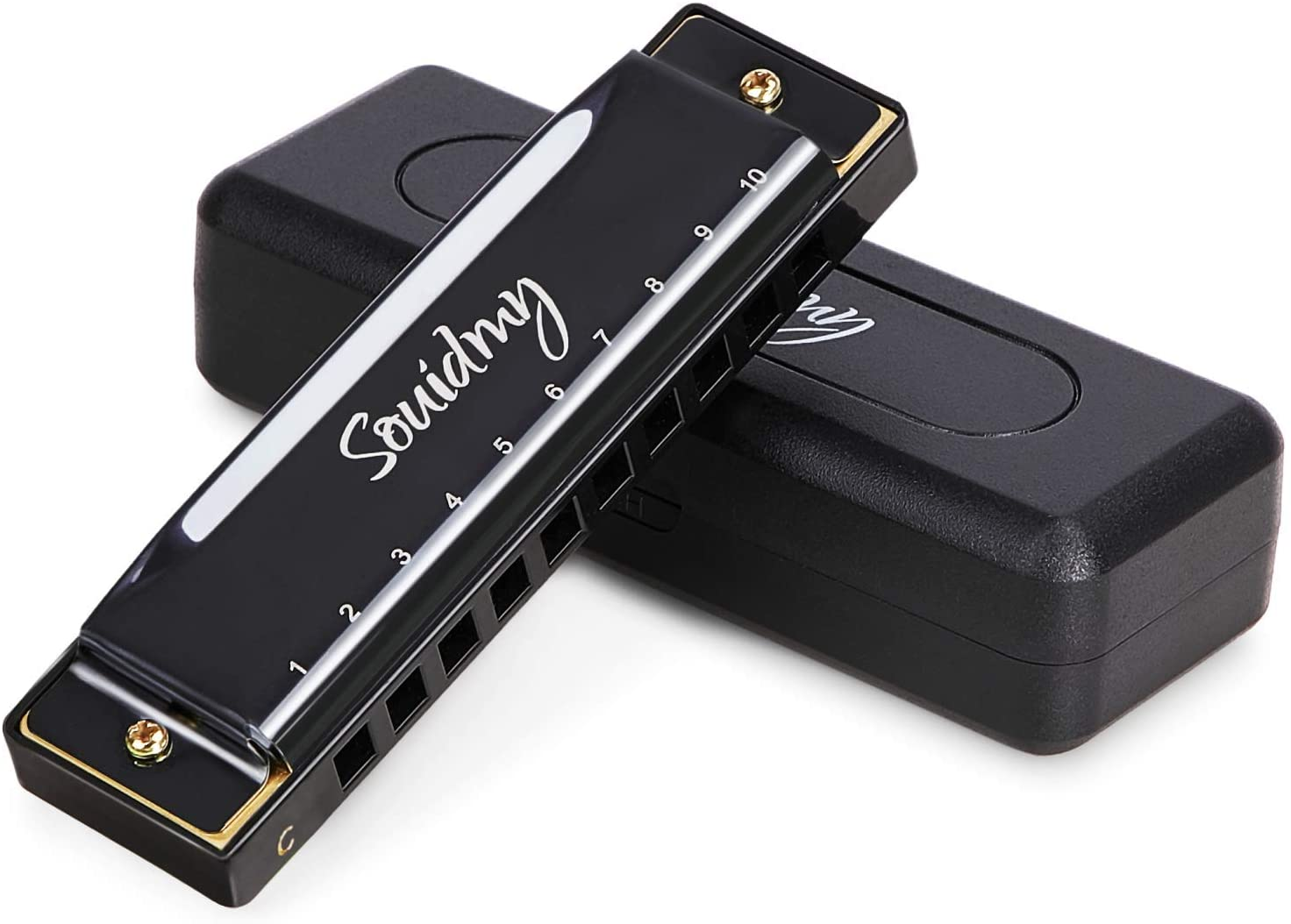 Harmonica, Souidmy Blues Harmonica for Kids, Adults and Beginners, Diatonic Mouth Organ 10 Holes 20 Tones, C Key , 0.8mm Plate Structure, Stainless Steel (Black)