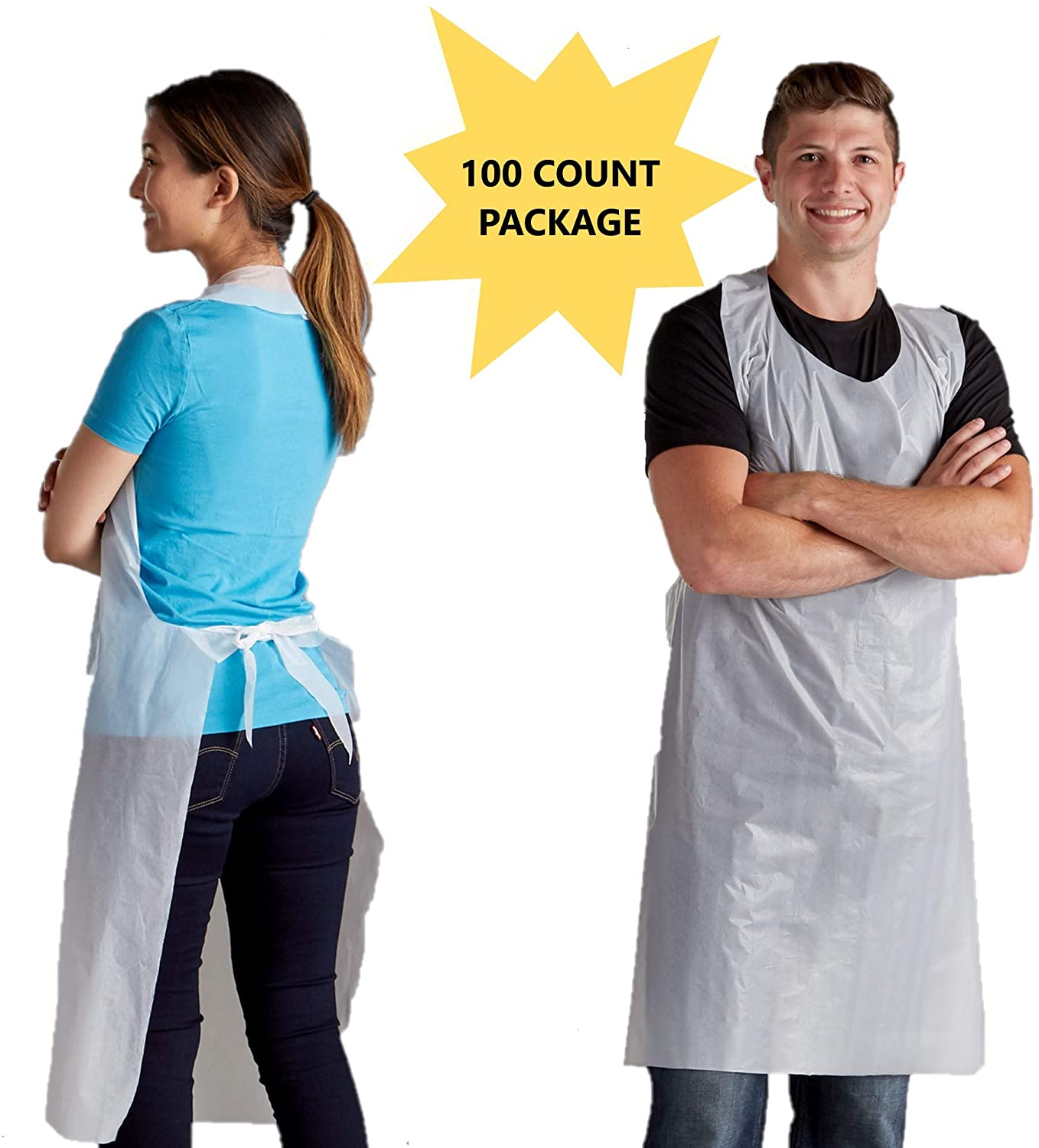 Disposable Poly Aprons 100 pack 28 X 46 inches Large White Protective Apron for Commercial or Household Use - Throw Away for Hair Salon Spa or Art Studio