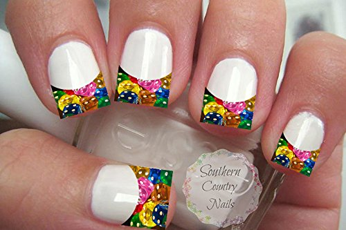 Colorful Dices French Tips Nail Art Decals