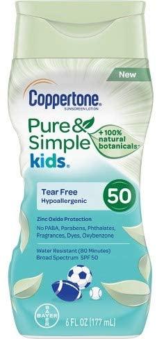 Coppertone Kids - Pure & Simple Kids SPF 50 Lotion 6 Oz (CT58073), White