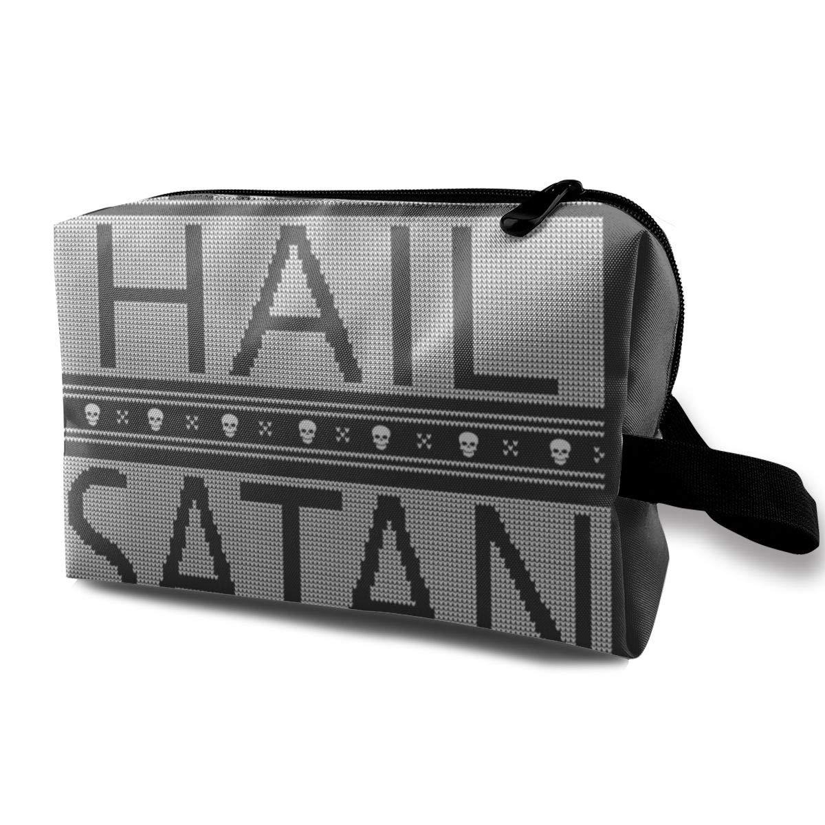 Makeup Bag Cosmetic Pouch Hail Satan Christmas Knit Multi-Functional Bag Travel Kit Storage Bag