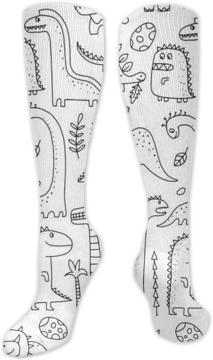 Compression Sock for Women & Men,Funny Dinosaurs CasualLongKneeHighTubeSocksforRunnning,SoccerAthleticSports,Travel-50cm