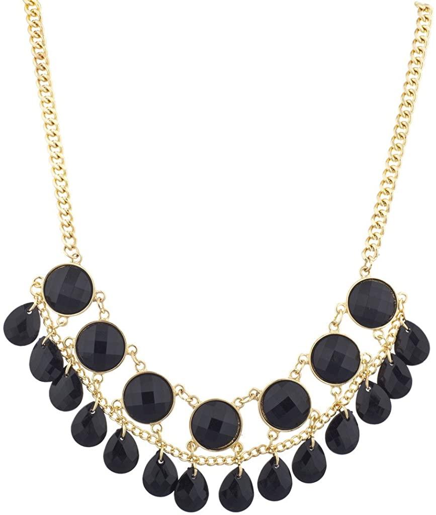 Lux Accessories Goldtone Cirlcle Teardrop Stone Statement Necklace