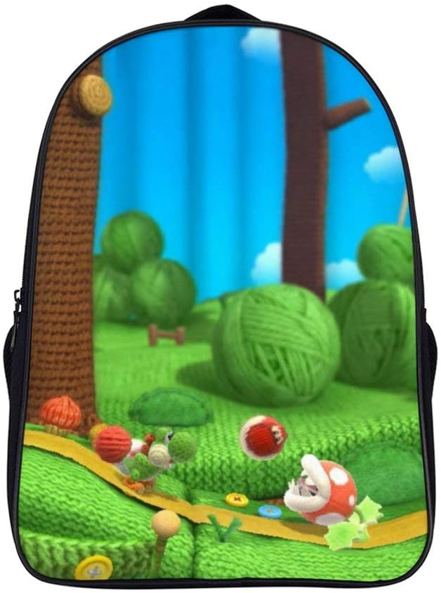 16.5 inches Backpack,Mario Yoshi (13),Unisex School Bookbags, Cute Laptop Bag,waterproof Casual Travel Hiking Camping daypack for Boys Girls Kids