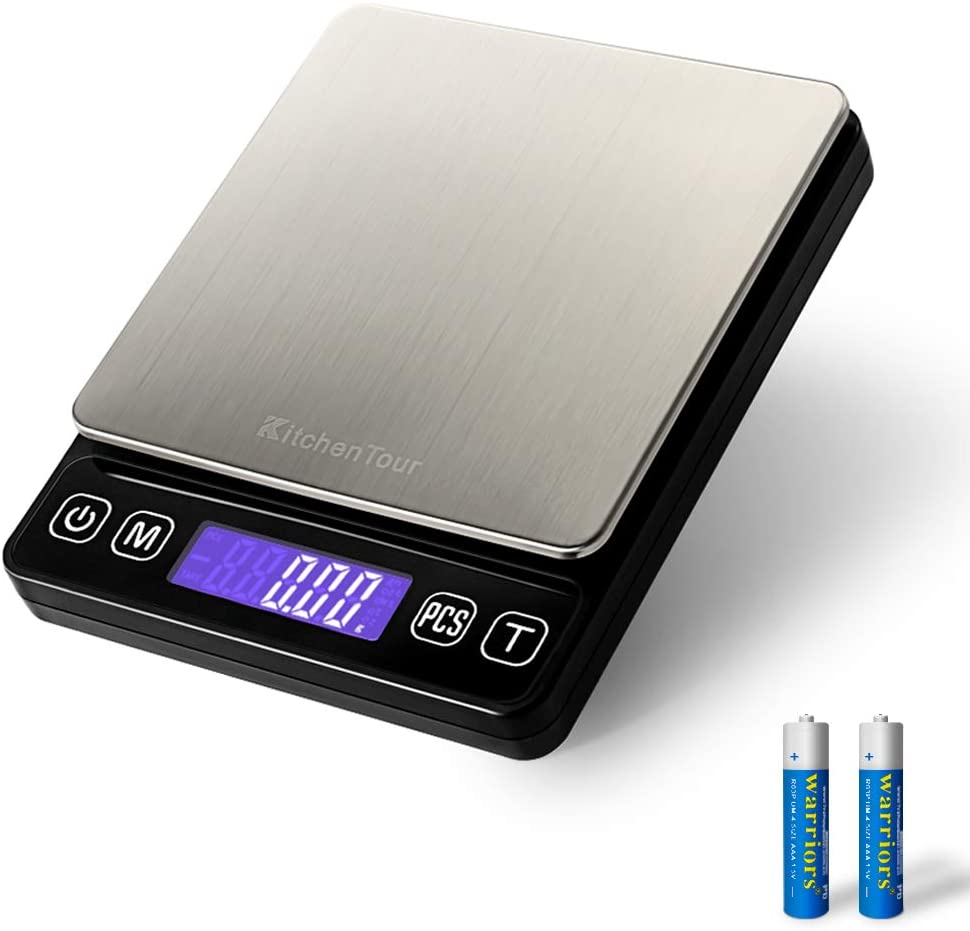 Digital Postal Scale - 0.01g/500g Small Portable Electronic Pocket Scale with Back-Lit LCD Display (Batteries Included)