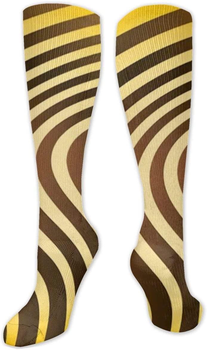 Compression Sock for Women & Men,Texture Tiger Orange Stripe CasualLongKneeHighTubeSocksforRunnning,SoccerAthleticSports,Travel-50cm