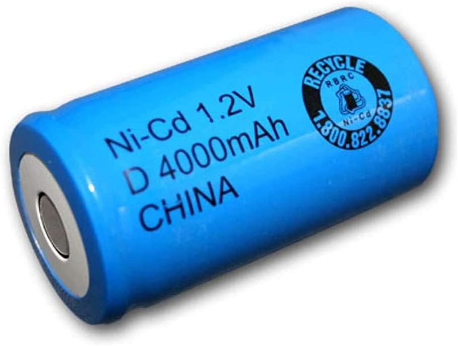 Exell 1.2V 4000mAh NiCD D Rechargeable Battery Flat Top Cell Fast USA Ship