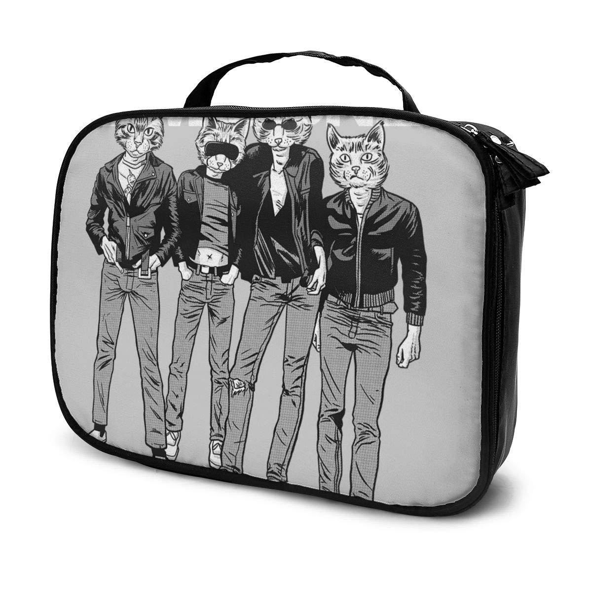 Makeup Bag Cosmetic Pouch Rawrmones Cat Ramones Multi-Functional Bag Travel Kit
