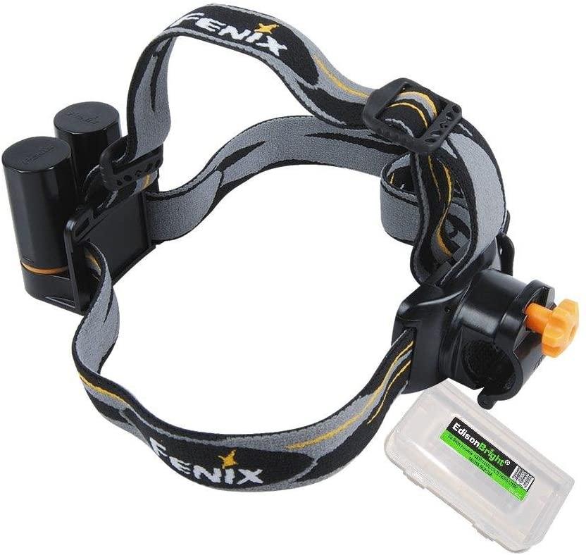 EdisonBright Fenix Flashlight Headband Battery Carry case Bundle