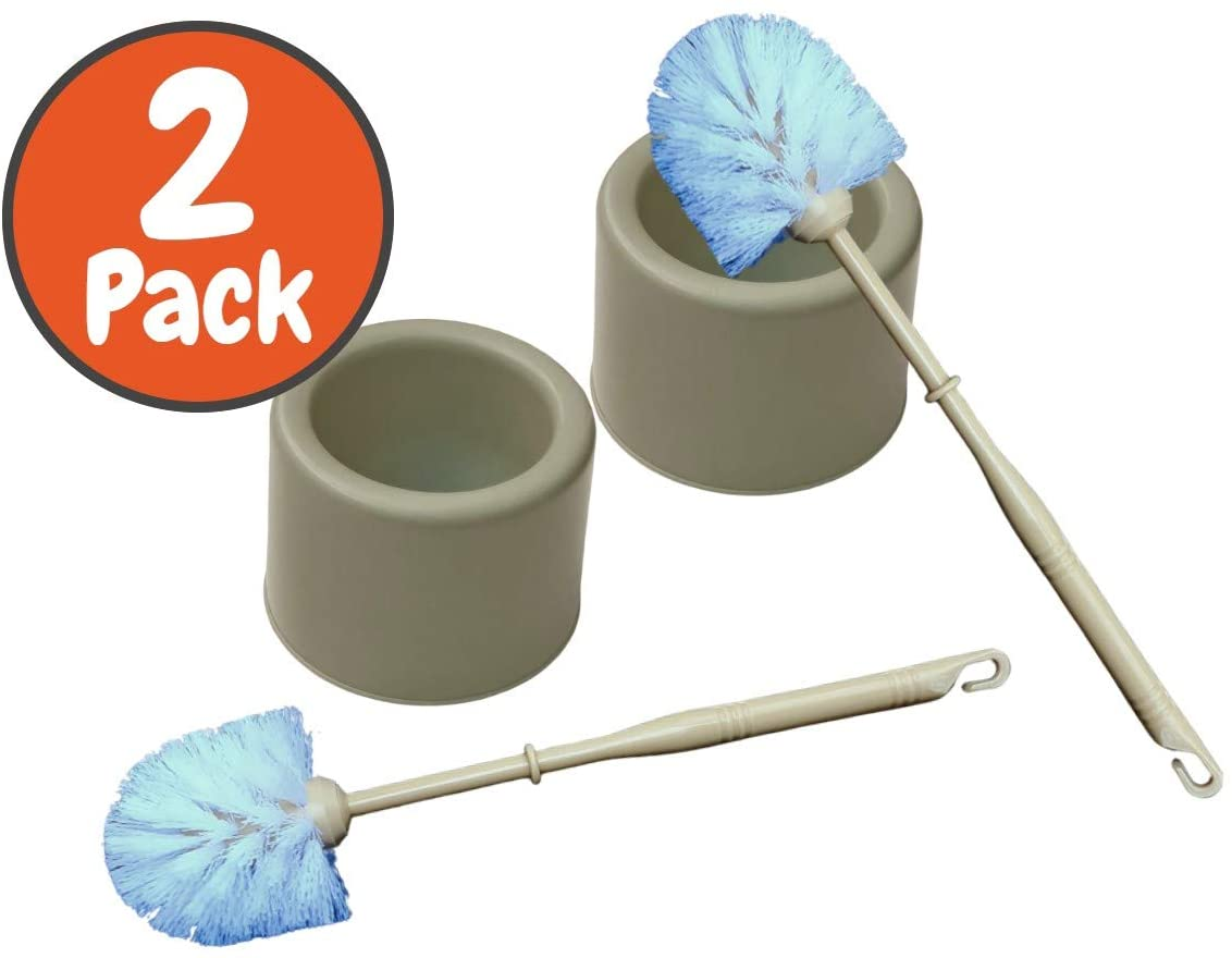 Always23 Toilet Brush with Holder, 2 Pack, 13 inc, 4 Assorted Colors, Toilet Brush,