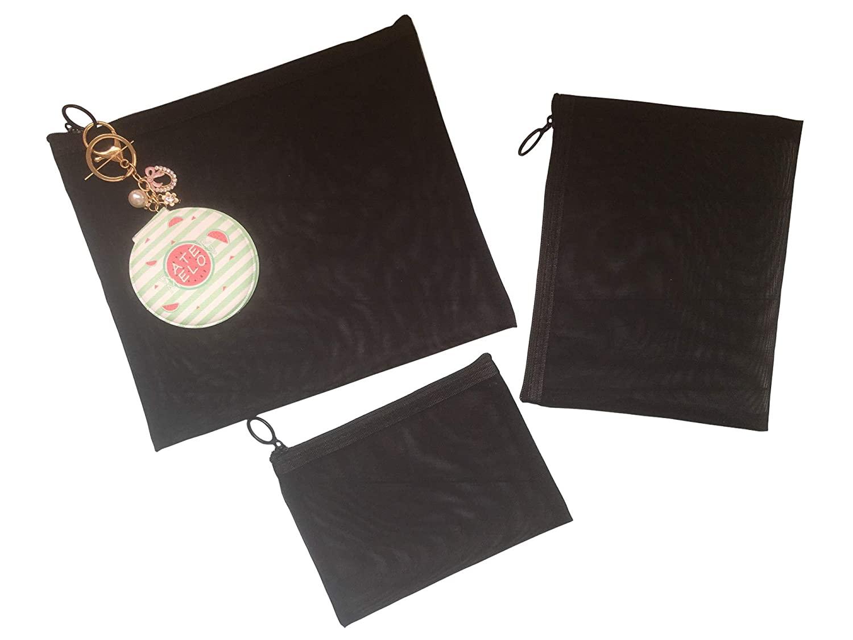 DOKUNSIN 3 Pieces Mesh Cosmetic Bag Set Rectangle See Through Makeup Bag with Zipper Travel Toiletry Kit Organizer Storage Case for Women Men (Black 1)