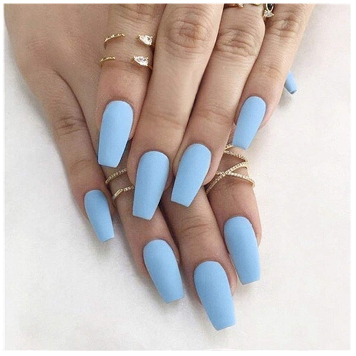 Frosted False Nails 24Pcs Pure Ballerina Coffin Fake Nails Fashion Acrylic Full Cover Press on Nails Art Tips for Women Girls Teens (Blue)