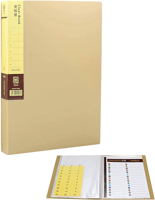 Presentation Binder Document Folder Portfolio Binder A4 Size 80-Page Capacity and Letter Size Inserts File-Beige with Storage Case