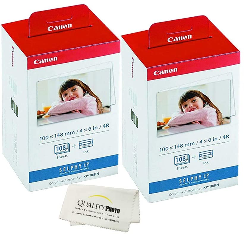 Canon KP-108IN -2 Pack- 3 Color Ink Cassette, 216 Sheets 4 x 6 Paper Glossy for SELPHY CP1300, CP1200, CP910, CP900, CP760, CP770, CP780 CP800. Bonus: Quality Photo Microfiber Cloth