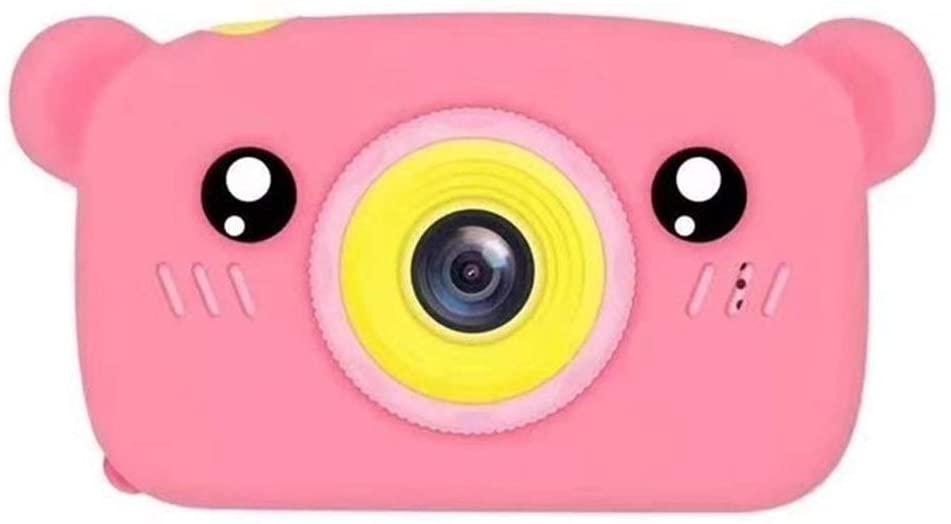 ZQALOVE Mini Kids Digital Camera Cute Cartoon Bear Shape 2 Inches IPS Screen Camera Toy Gift for Kids Vlogging Camera Camcorder V,Color:Orange,Bundle:Standard (Color : Pink)
