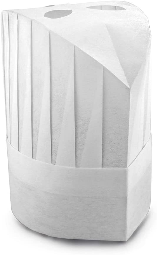 New Star Foodservice 32215 Disposable Non Woven Round Chef Hat, 9-Inch, Set of 10 White