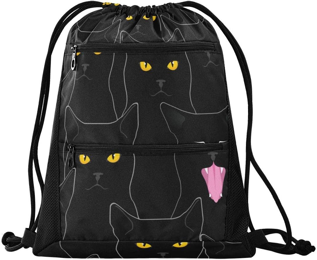 Drawstring Bag Cute Black Cats Lightweight Drawstring Backpack Bag for Travel Beach Yoga Gym Hiking Swimming with Zipper Mesh Pockets