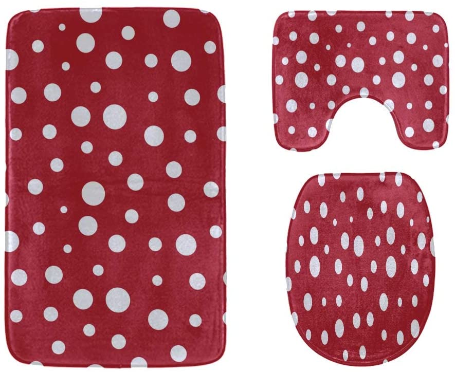 Girlish Red and White Polka Dots Bathroom Rug Mats Set 3-Piece,Soft Shower Bath Rugs,Contour Mat and Toilet Seat Lid Cover Non-Slip Machine Washable Flannel Toilet Rugs