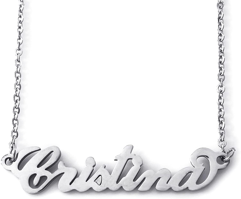 Italic Name Necklace CRISTINA - Silver Tone