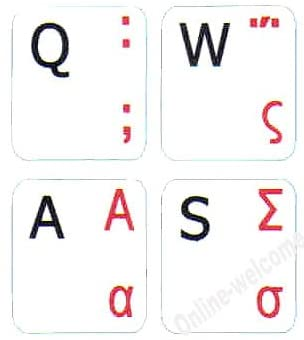 Greek-English Non Transparent White BACKGROUBD Labels for Any Computer Keyboards