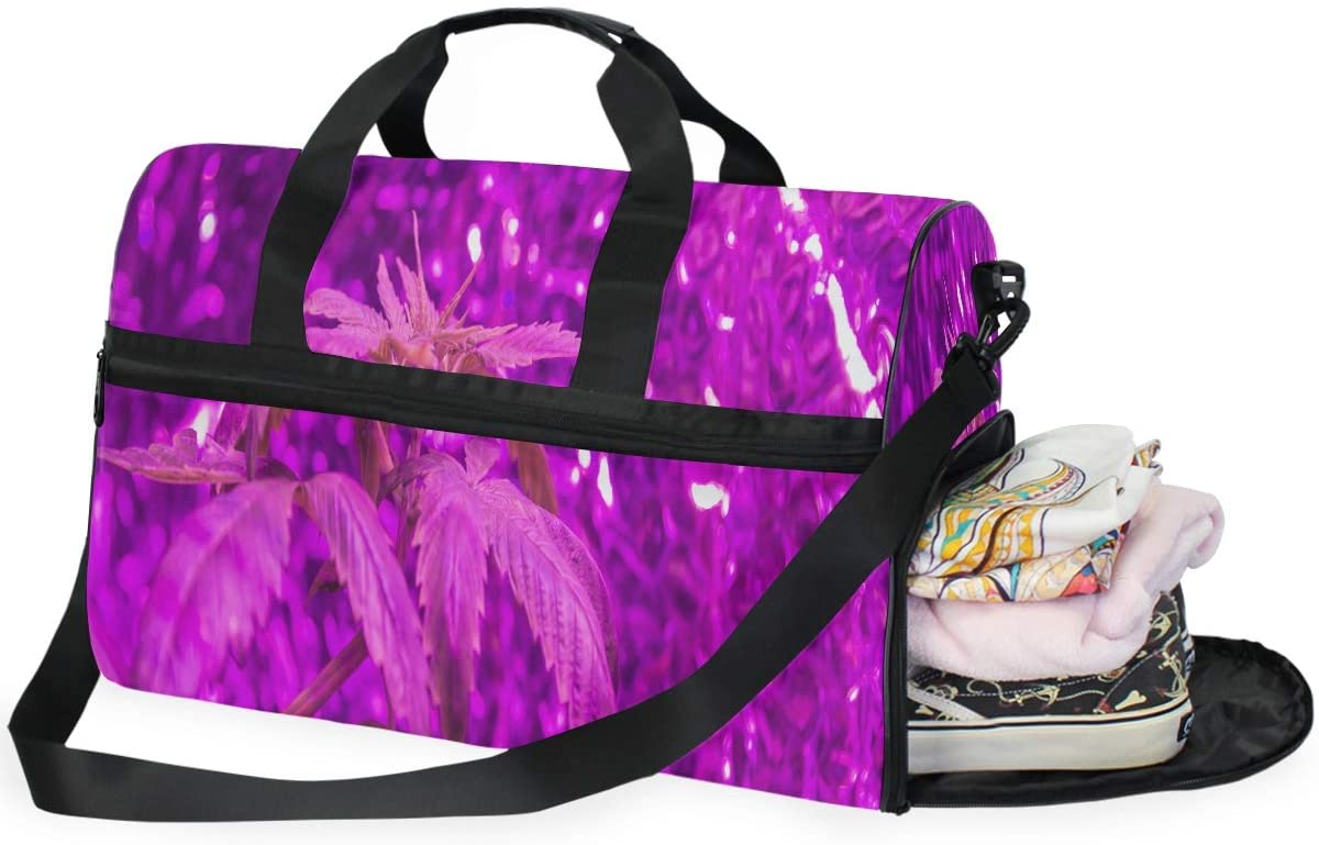 Medical Marijuana Purple Large Duffle Bag With Shoes Compartment Travel Weekender Bag For Men Women Gym
