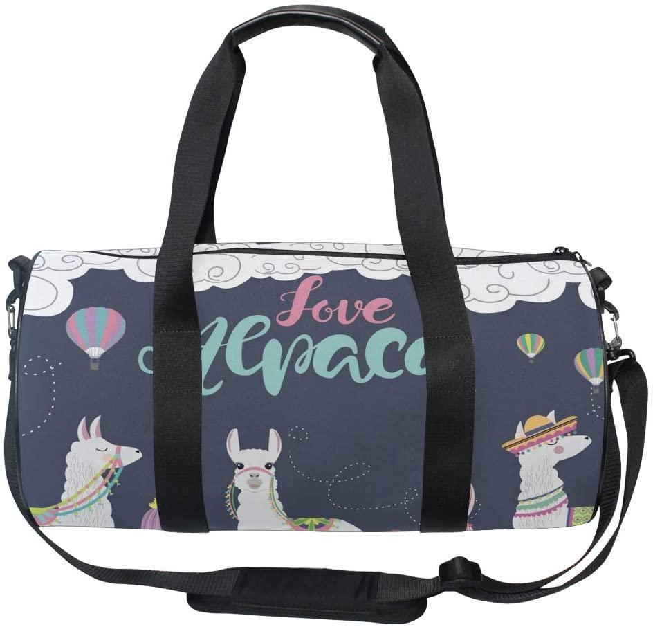Huakz Cartoon Love Llamas Travel Duffle Bag Cactus Balloon Single shoulder bag Violet for Gym Sports and Overnight