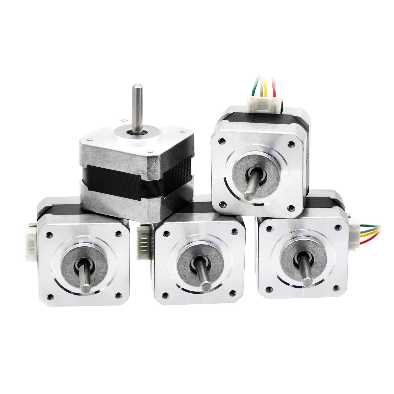 ECO-WORTHY 5pcs Nema 17 12V High Torque Stepper Motors w/Cables & Connectors for 3D Printer/CNC