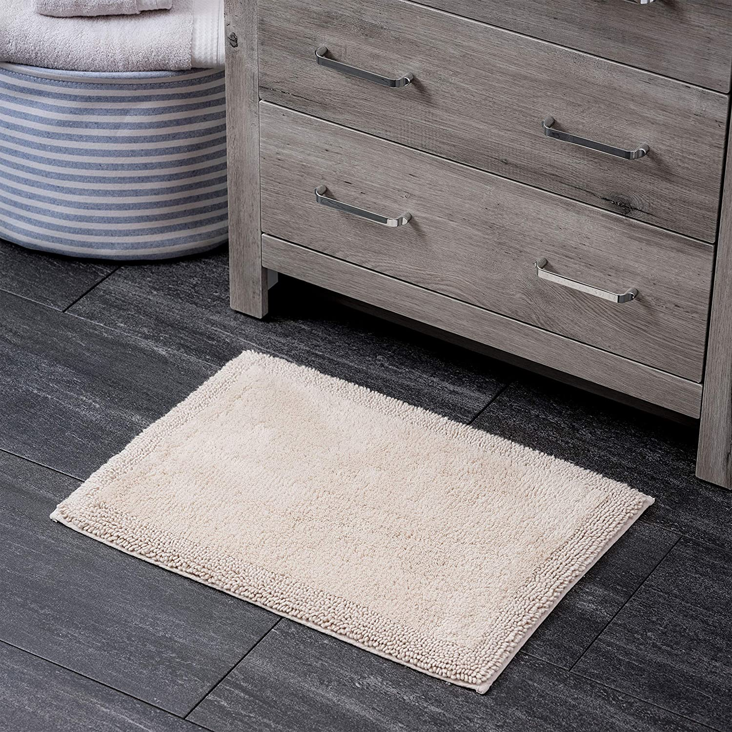 Welhome 100% Turkish Cotton Bathroom Rug - Luxurious - Soft & Thick - Highly Absorbent - Hotel Spa Collection - 17
