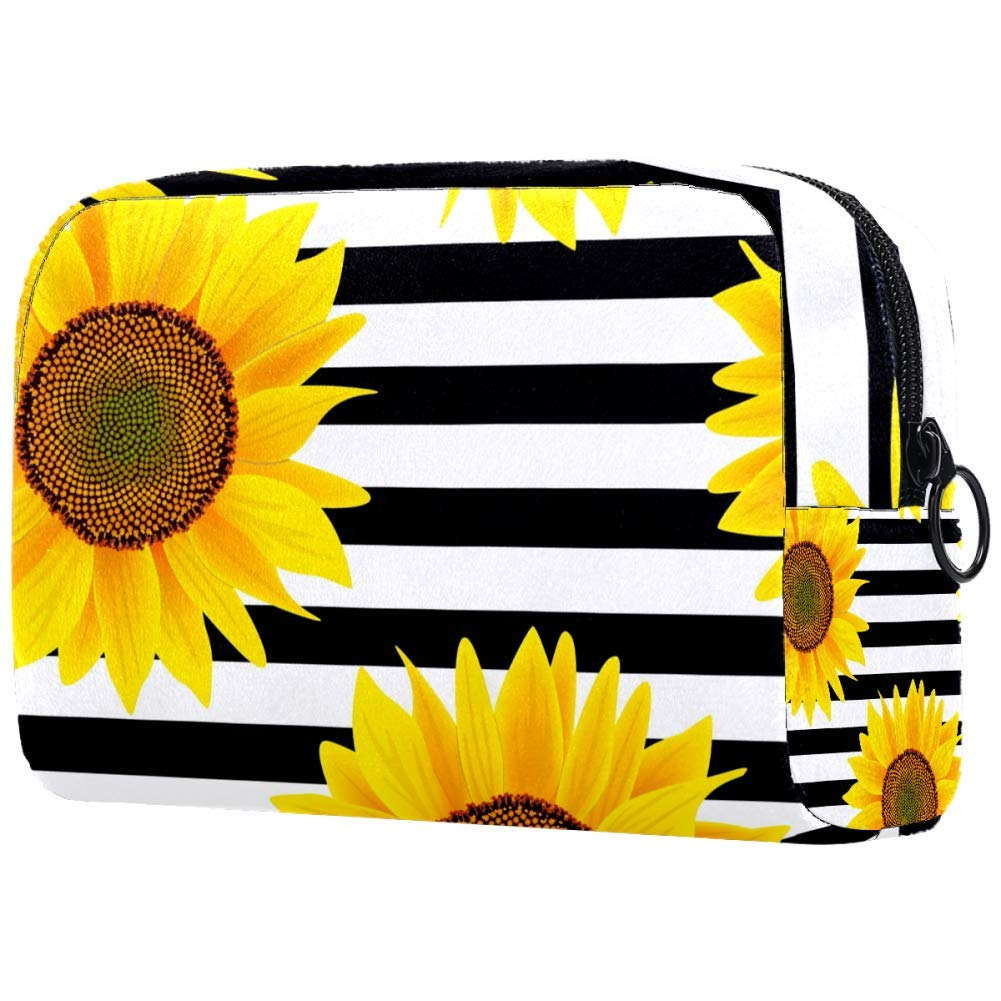 Sunflowers On Striped Black And White Makeup Bags Portable Tote Cosmetics Bag Travel Cosmetic Organizer Toiletry Bag Make-up Cases for Women