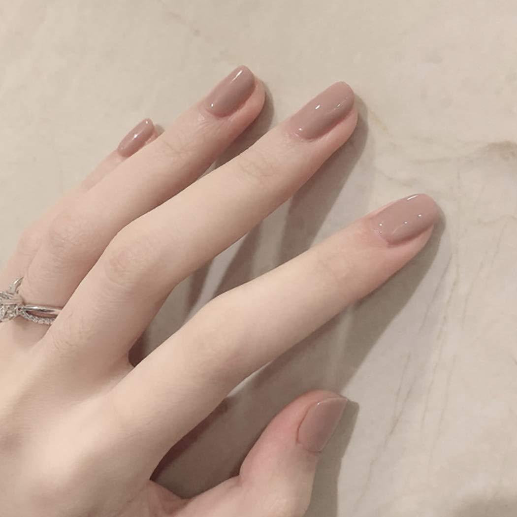 Fairyu Square Press on Nails Short Fake Nail Tips Full Cover False Nails Art Glossy Khaki Nails for Women and Girls 24Pcs