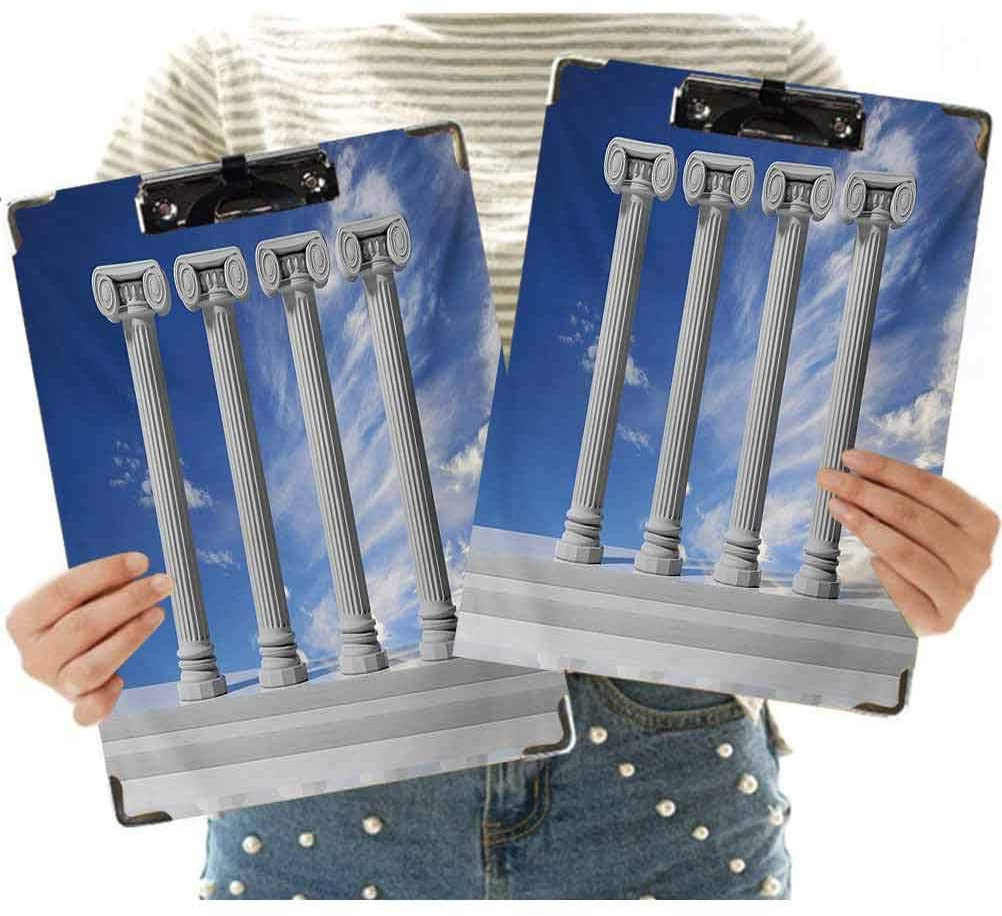 3D Printed Office Clipboard,Historical Theme with Four Ancient Marble Pillars and The Sky Digital Image Clipboard Designed for Students Nurse Office Worker for Letter Size Paper (Pack of 2)