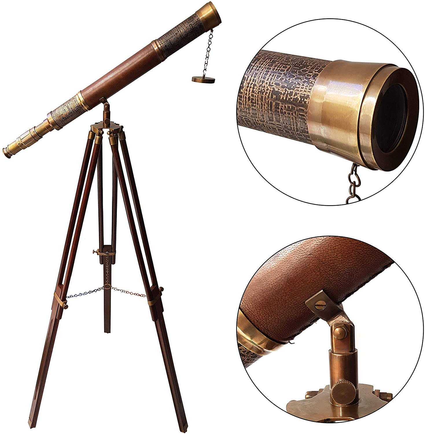 Nautical Floor Standind Solid Brass Antique Telescope with Brown Wooden Tripod Stand Leather Cover Scope