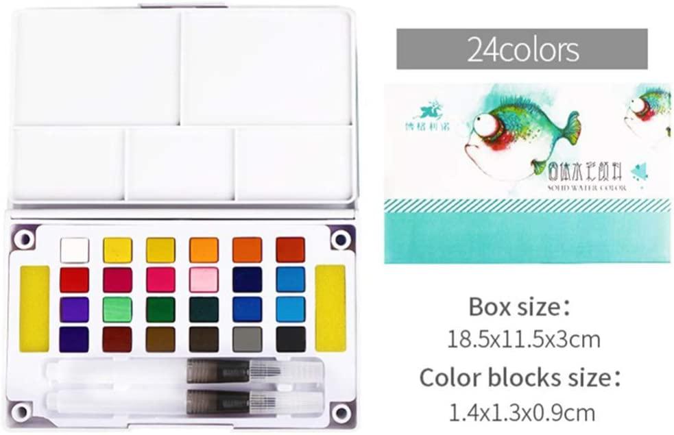 DragonPad Solid Watercolor Paint Set with Watercolour Brush Bright Color Pigment Set Art Supplies 24-Color