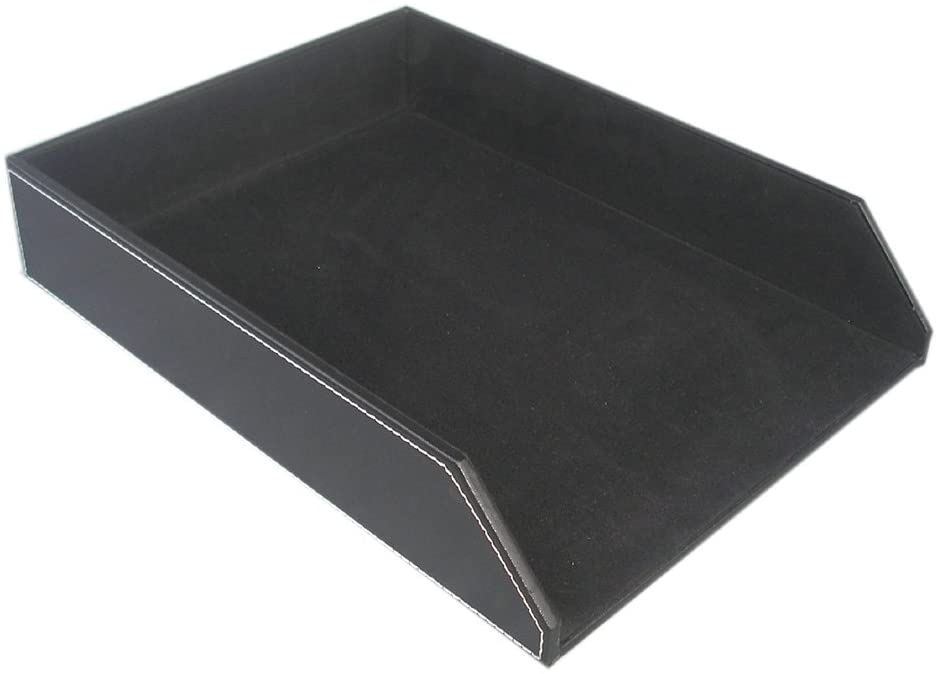 KINGFOM PU Leather Collection Letter Tray, Document Desk Organizer, Letter Size (1 tray-black)