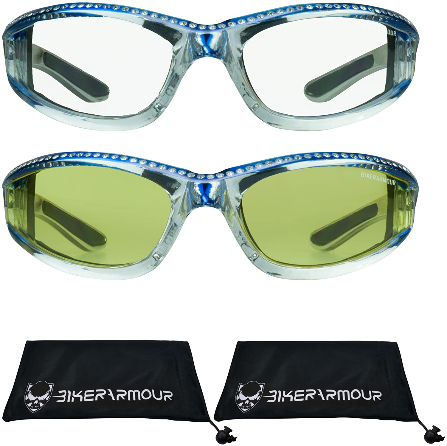 Chrome Motorcycle Safety Glasses with Rhinestones Foam Padded for Women (Blue Clear + Blue Yellow)