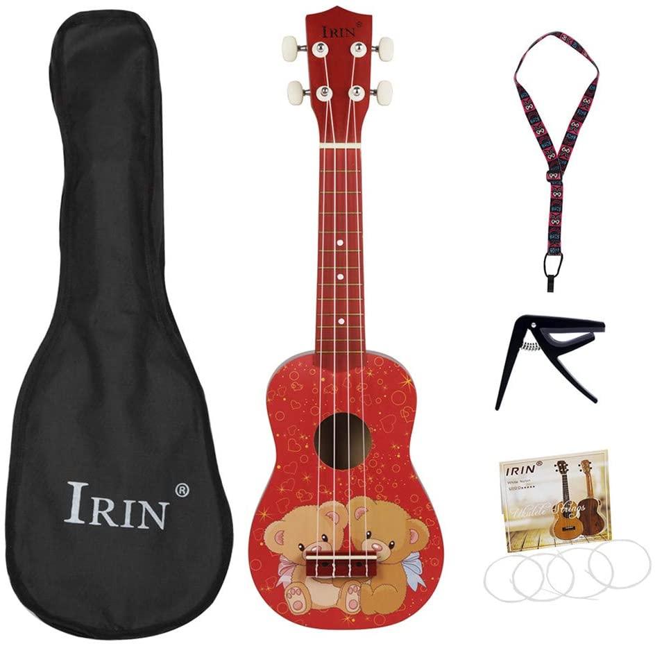 DishyKooker 21inch Ukulele Cute Bear Pattern Basswood Ukelele Mini Guitar 4 Strings Musical Instruments with Bag+Strap+String+Capo