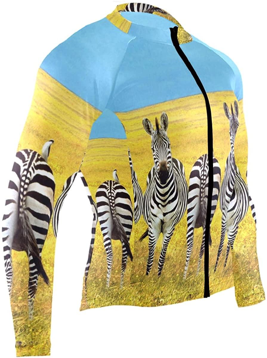 Zebra Mens Cycling Jersey Coat Full Sleeve Road Biking Wear Outfit