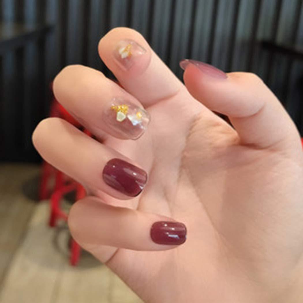 Fdesigner Purple Fake Nail tips Full Cover Press on Nails Short False Nail Art Glitter Arcylic Nails Clip on Nails Square Artificial Nail Glossy Hand Decorations for Women and Girls(24PCS)