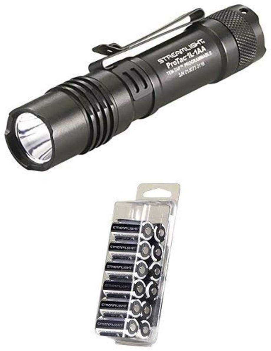 Streamlight 88061 ProTac 1L-1AA Dual Fuel Ultra-Compact Flashlight, Black with Streamlight 85177 CR123A 12-Pack Lithium Batteries
