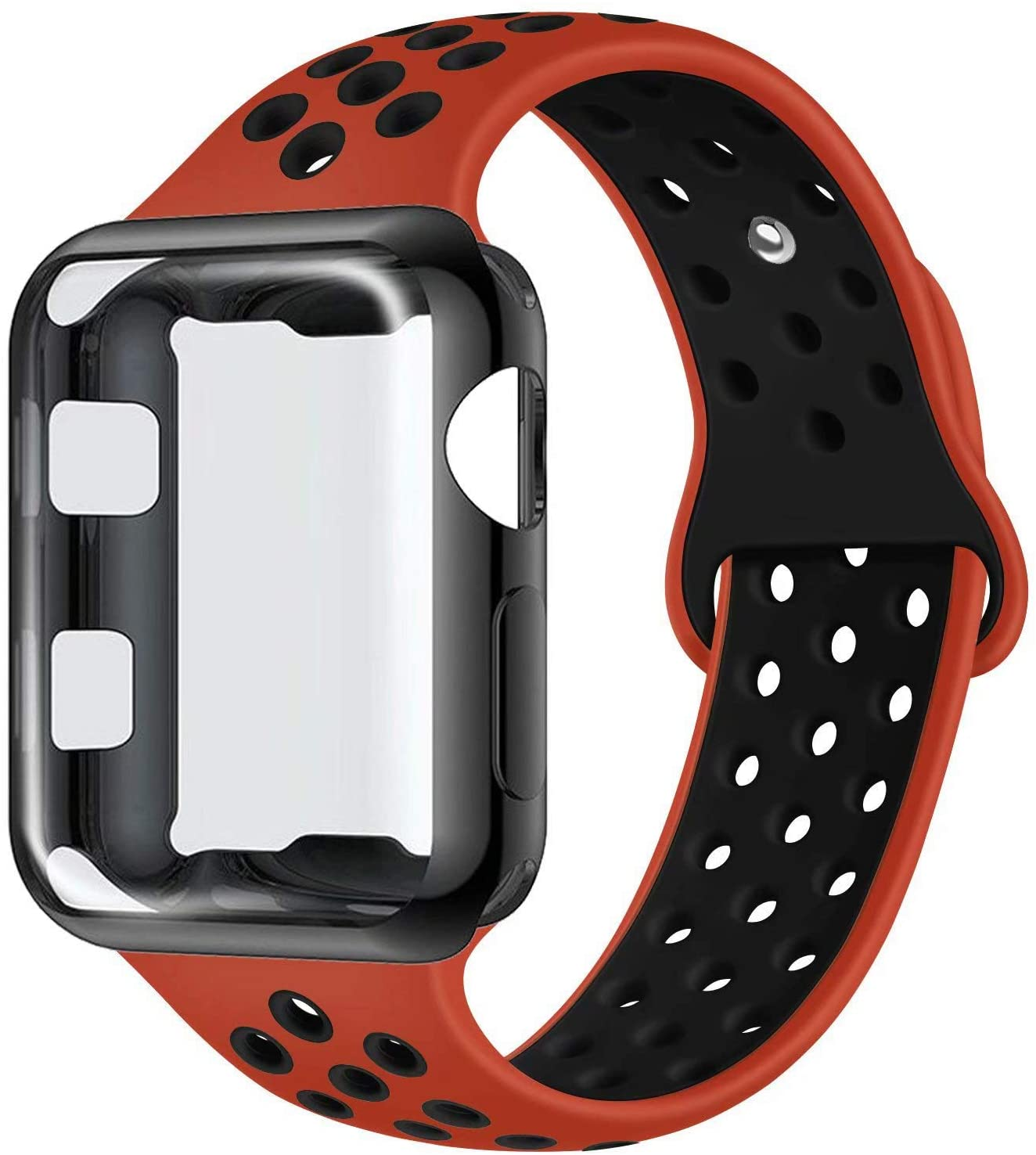 ADWLOF Compatible with Apple Watch Band with Case 38mm, Silicone Replacement Strap with Screen Protector Cover for Wristband for iWatch Series 3/2/1, Nike+, Sport, Edition,S/M,M/L,Red Black